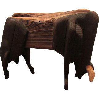 Wonderful Rare Large Antique Carved Wooden Cow