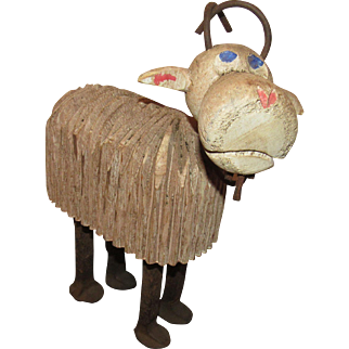 Early Unique Large Carved Wood Sheep