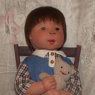 "Wonderful Large 25"" Diane Dengal Cloth Character Boy Doll"