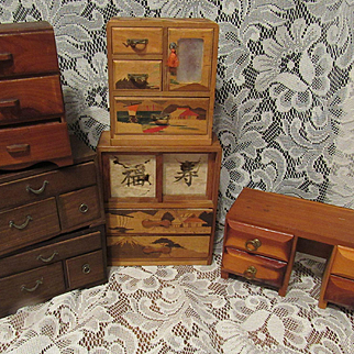 Six Vintage Wood Doll House Mixture Furniture Lot Chest, Dresser & Desk