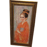 Edna Hibel Painting Beautiful Asian Girl On Canvas Framed Hand Signed Signature