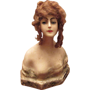 Beautiful Antique French Wax Bust Head Circa 1900's