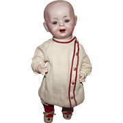 """German Bisque Domed Head Character Doll With Toddler Body 9"""" Circa 1915"""