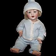 """Hertel, Schwab & Co. #152 Antique German Bisque Character Baby 13"""" Too Cute!"""