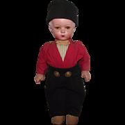 "Vintage German Wood & Composition Rare Character Boy Walking Doll 18"" Circa 1930"