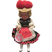 Mint Vintage German Celluloid Doll with Wrist Tag and Original Box Circa 1920's