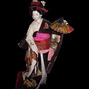 "Exquisite Original Vintage Very Large 24"" Geisha Doll, Kyugetsu Doll - Red Tag Sale Item"