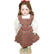 Adorable German Bisque Shoulderhead Heubach Kopplesdorf doll on stamped kid body