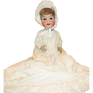 "Adorable Life Size Heubach Kopplesdorf Large 25"" Baby with Waggly Tongue"
