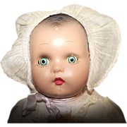"""Vintage Composition Horsman Baby Doll With Original Tag And Original Outfit 15"""" Circa 1915"""