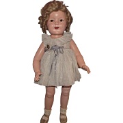 """Vintage Ideal Composition Rare Size """"SHIRLEY TEMPLE FLIRTY EYES DOLL"""" In Original Outfit 25"""" Circa 1936"""