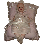 """Vintage Ideal Flirty Eyes Baby Shirley Temple Rare Molded Hair """"SHIRLEY TEMPLE BABY"""" 21"""" In Original Outfit & Pillow"""