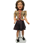 "24"" Vintage High Color Composition Rare Size ""Deanna Durbin Doll"" With Tagged Rare Outfit Circa 1938"