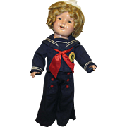 """Vintage Ideal All Composition Wonderful """"SHIRLEY TEMPLE DOLL"""" In Original Sailor Outfit 20 Circa 1935"""