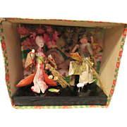 Beautiful Vintage Japanese Paper Mache Diorama Set Circa 1940
