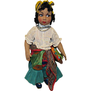 "Stunning Vintage Rare Joao Perotti Cloth Lady Felt Doll 17"" Circa 1930's"