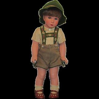 "Vintage German Kathe Kruse Celluloid Boy In Original Tyrolean Costume 15"""