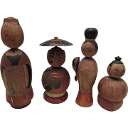 Four Wonderful Original Vintage Wood Japanese Kokeshi Dolls Circa 1920's