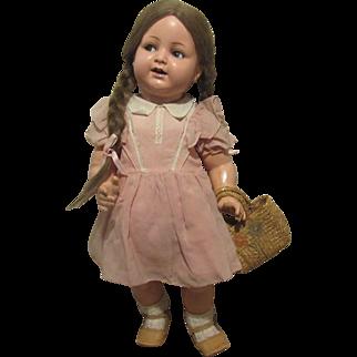"""k*R Flirty Eyes Antique Adorable Toddler Doll 23"""" Circa 1910"""