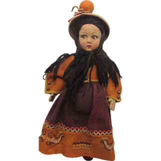 """Vintage Wonderful Lenci Cloth Doll With Original Outfit 14"""""""