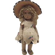 Beautiful Vintage Italian Felt Pouty Face Character Lenci Doll, Series 110, In Original Outfit