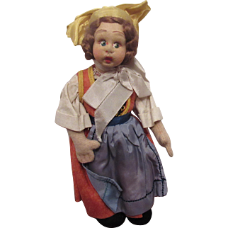 """Vintage Lenci Mascot Cloth Doll Original Felt Outfit 8"""" Circa 1930's"""
