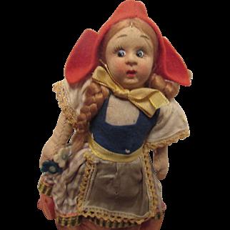 """Vintage Lenci Mascot Cloth Doll Original Felt Outfit 7"""" Circa 1930's"""