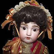 Vintage Beautiful German Bisque Kestner 154 Shoulder head doll, Kid Body, Wonderful Vintage Outfit