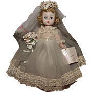 "Vintage Madame Alexander ""Alexander Kins Bride"" In Original Tagged gown, Original Wrist Tag, 8"" Circa 1954"