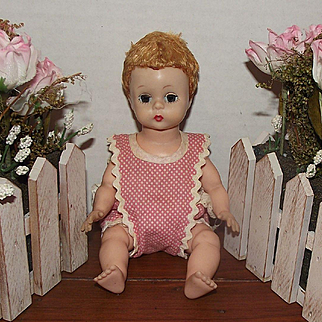 "Vintage Madame Alexander Sweet ""Baby Genius"" With Original Tag Outfit 7 1/2"" Circa 1950's"