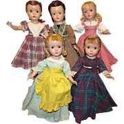 """Vintage Madame Alexander Little Women Set, All Original, All Tagged Outfits 14"""" Circa 1948"""