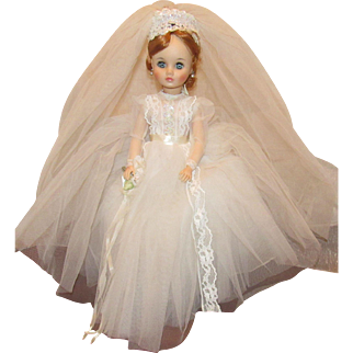 "Madame Alexander Stunning Rare Red Head ""Elise Bride Doll"" 18"" In Tagged Gown All Original"