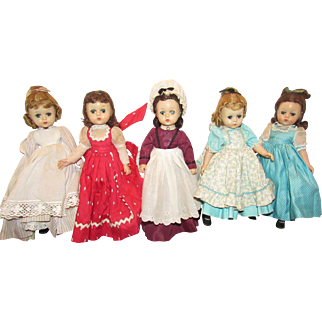 Vintage Madame Alexander Five Little Women With The Rare Lissy Face