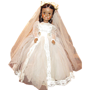 "Beautiful Vintage Madame Alexander ""Leslie Bride Doll"" In Original Tagged Bridal Gown 17"" Circa 1960's"