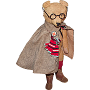 "Adorable Antique Mohair Long Snout Bear Wearing Old Clothing & Glasses 15"" Circa 1900's"