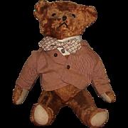 """Vintage Mohair Adorable Cinnamon Bear, Excelsior Stuffed, 16"""" Circa 1920's"""
