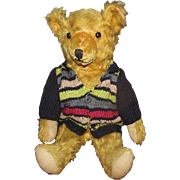 "Vintage Golden Mohair Bear, Excelsior Stuffed, Shoe Button Eyes, 12"" Circa 1920's"
