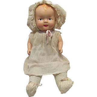 """Sweet  Vintage Large Composition & Cloth Mama Baby Doll With Working Crier 20"""" Tall"""