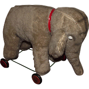 Vintage Mohair Elephant On Wheels Excelsior Stuffed Circa 1940