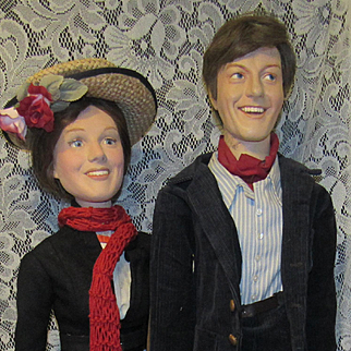 "Extremely Rare & One Of A Kind Dick Van Dyke & Julie Andrews Movie Memorabilia Mary Poppins Dolls With Dick Van Dyke Signature 31"" Circa 64"