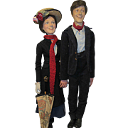 """Extremely Rare & One Of A Kind Dick Van Dyke & Julie Andrews Movie Memorabilia Mary Poppins Dolls With Dick Van Dyke Signature 31"""" Circa 64"""