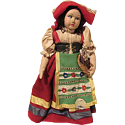 """Vintage Cloth Side Glancing Chubby Cheeks Beautiful Character Magis Roma Doll Made In Italy 10"""" Tall Circa 1930'S"""