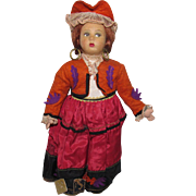 """Vintage Cloth Side Glancing Chubby Cheeks Beautiful Character Magis Roma Doll Made In Italy 9 1/2"""" Tall Circa 1930'S"""