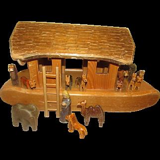 "Early Wonderful Large Carved Wood Set of ""Noah's Ark"""