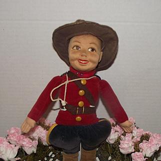 """Wonderful Vintage 15"""" Norah Wellings Cloth Canadian Mountie"""