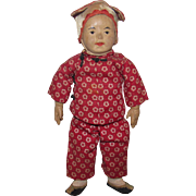 """Early Wonderful Old Carved Wood and Cloth Five Finger Ching Asian Doll 10 1/2"""""""