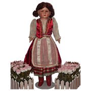 "Vintage Papier Mache & Cloth Doll Made in Germany 18"" Circa 1900's"