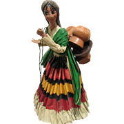 Wonderful Vintage Italian Paper Mache Doll Carrying Pots & Pitchers