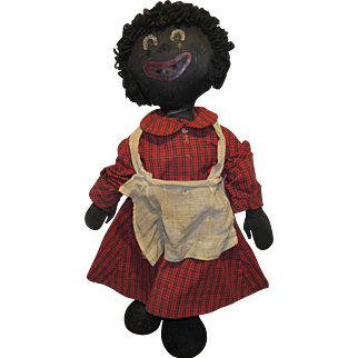 """Rare Early Large 28"""" Wonderful Black Cloth Raggedy Ann Doll Folk Art Doll"""
