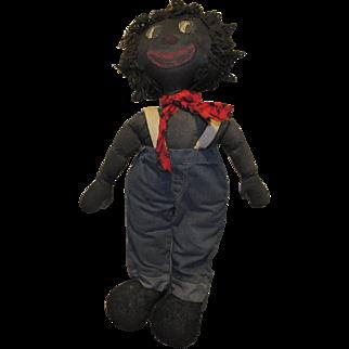 """Rare Early Large 29"""" Wonderful Black Cloth Raggedy Andy Doll Folk Art Doll"""
